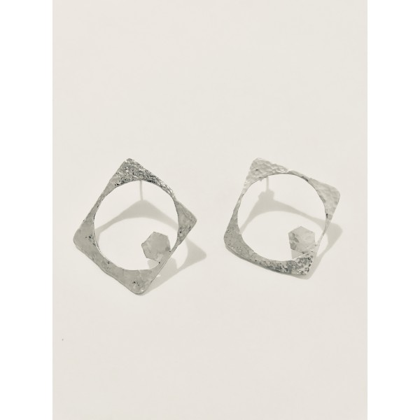 Square Hammered Earring