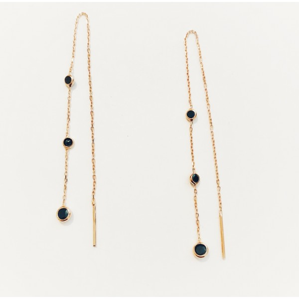 Chain black-stoned Earrings