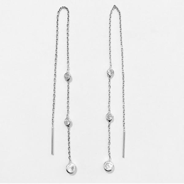 Three-stoned Chain Earring